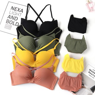【Ready stock】Cute Small Thin Chest Without Steel Ring Gathered Bra