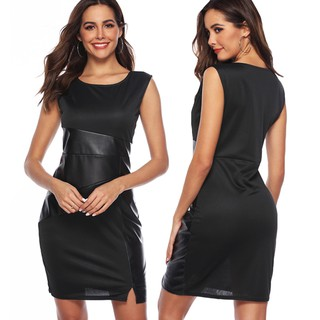 Romacci  New Celebrity Women Dress PU Leather Splice Round Neck Sleeveless Elegant Slim