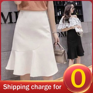 Summer Fashion Casual Plus Size Solid Color High Waist Ruffle Layers Pleated Women's OL Midi Skirt Loose A Link Skirt