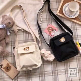 Korea ins Retro Girl Heart Messenger Bag Japanese Harajuku Cartoon Cute Bear Canvas Bag Soft Girl Small Bag