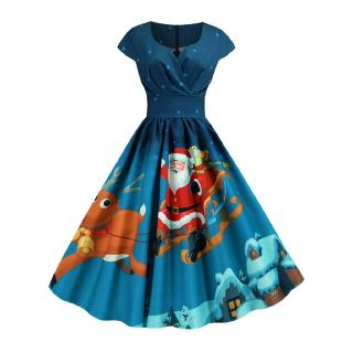 Pleated Christmas Santa Claus Elk Snowman Print Surplice Dress (Navy Blue)