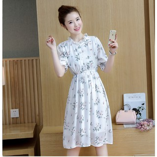 Women Chiffon Ruffle Dresses Floral Elegant Office Wear Prom Beautiful Day Dress