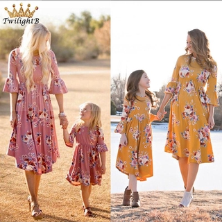 Hot Bell Sleeve Prom Party Floral Casual Cocktail Women Photo Props Girls Boho Holiday Mother and Daughter Dress