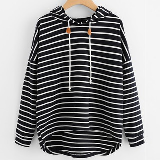 Women Plus Size Stripe Casual Sweatshirt Long Sleeve Crop Jumper Pullover