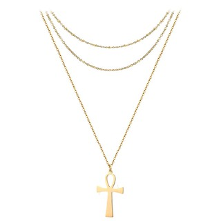 Stainless Steel Ancient Egypt Cross Ornament Layered Simple Thin 3 Layer Ankh Pendant Necklace