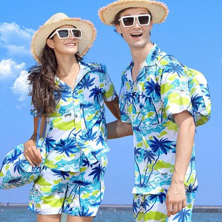 Couple Shirt Women Hawaiian Beach T Shirt Short Sleeve Tops Floral Blouse