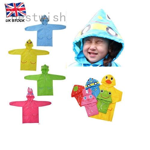 Raincoat Children Funny Cartoon Baby Kids Hot Rainwear Cute Waterproof UK New