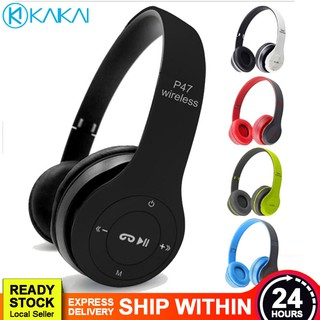 PROMO Foldable P47 Wireless Bluetooth 4.1 Stereo Music MP3 Player FM Radio Headphone Headset with Button Control