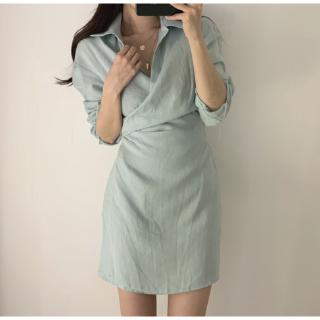 Designed lapels shirt-style lace-up dress