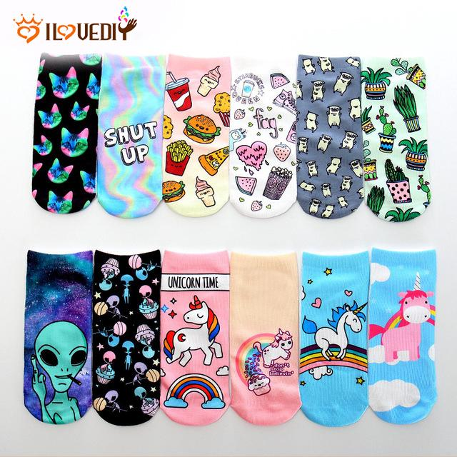 Trend Cute 3D Animal Unicorn Printed Socks Women Ankle Soft Cotton Casual Socks