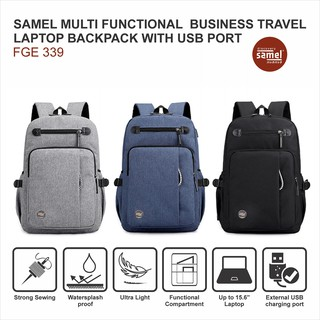 SAMEL FGE 339 MULTI FUNCTIONAL BUSINESS TRAVEL LAPTOP BACKPACK WITH USB PORT