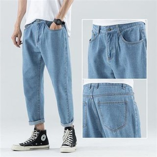 Boys jeans tide brand loose straight drop feeling wide leg Hong Kong style light nine-point pants men Korean version70
