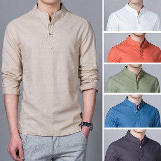 (M-5XL) Men's Fashion Linen Shirt Long Sleeve Slim Fit  Leisure Shirt