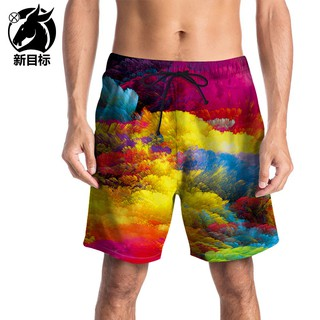 Men's new colorful cloud print beach pants quick-drying loose XL fat swim trunks