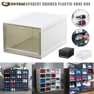 Boot Shoe Plastic Storage Transparent Box Stackable Case Drawer Organizer Home