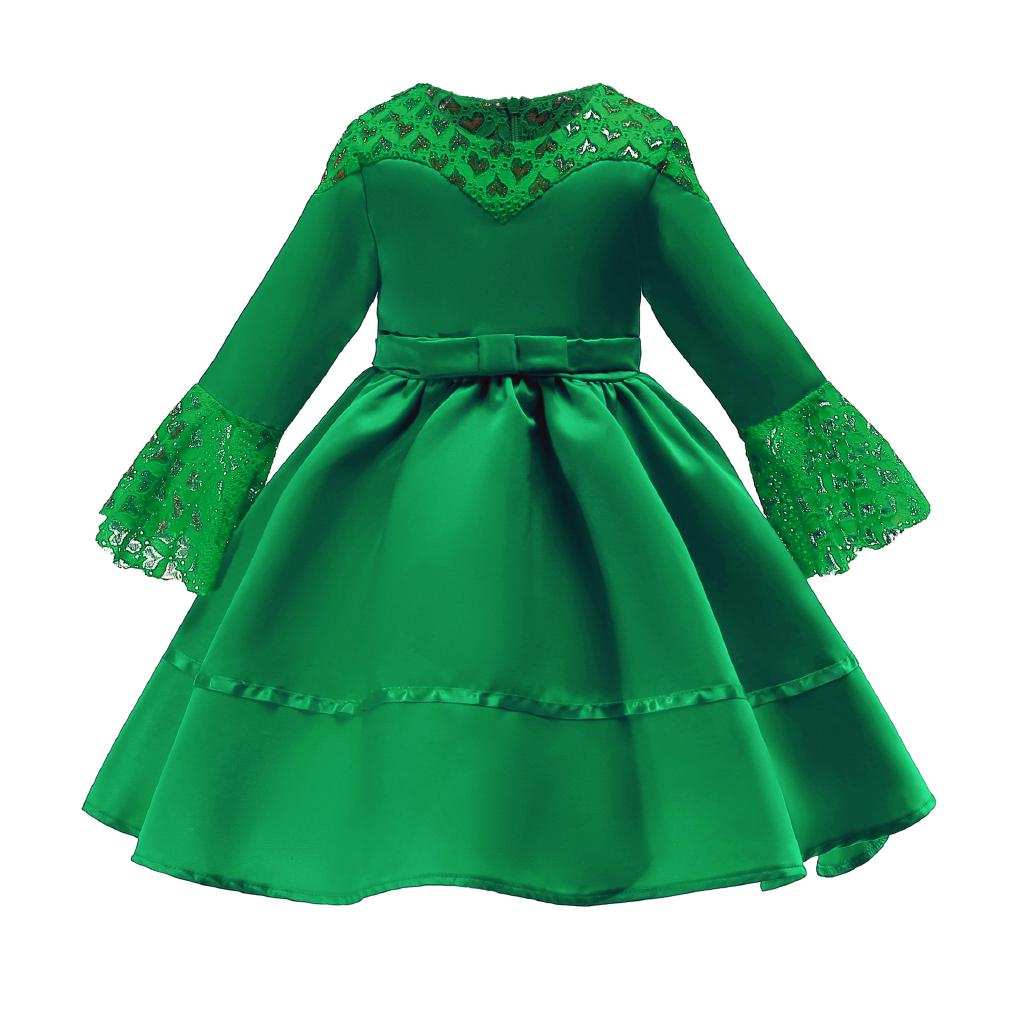 Muslim Kid Girls Dress Green Lace Princess Birthday Party Occasion Dresses