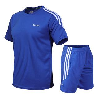 Fast-drying Men's Running Short-sleeved Short-sleeved Pants, T-shirt, Breathable and Loose Fitness Sports Suit 5 colors