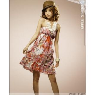 READY STOCK  Fashionhomez L5060 Drawstring Flower Chiffon Dress