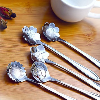 5pcs Stylist Stainless Lovers Cherry blossoms Measuring Spoons Tea Coffee Spoon