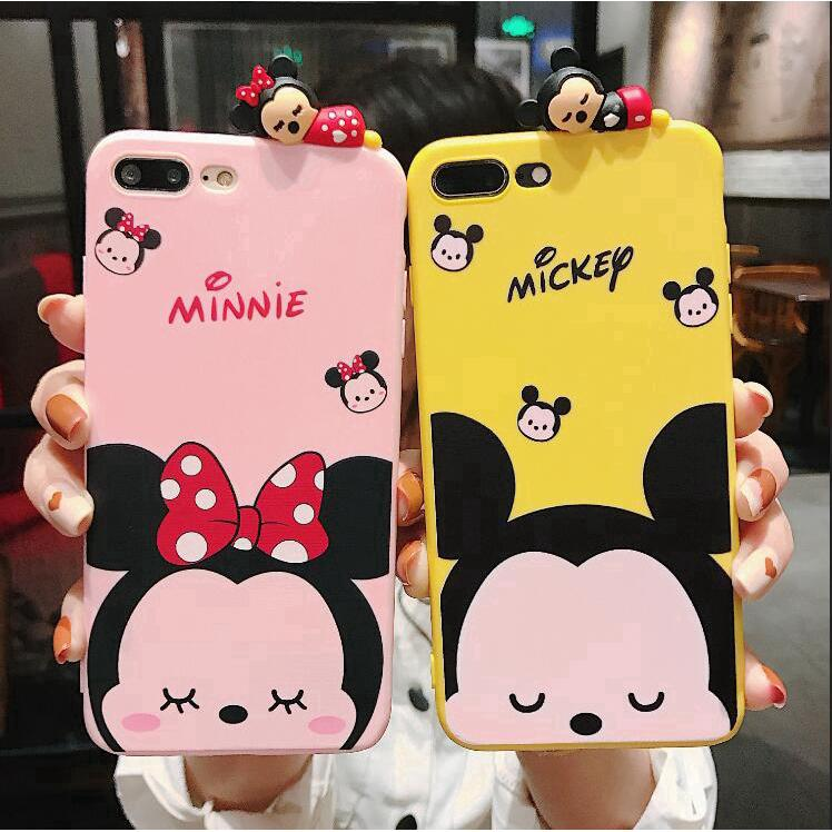 iPhone 7 8 Plus X 6 6S XS MAX XR Cute Mickey and Minnie Soft TPU Case Cover