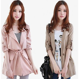 New Korean Fashion Women Casual Long Coats Trench Autumn Winter Thin Jacket