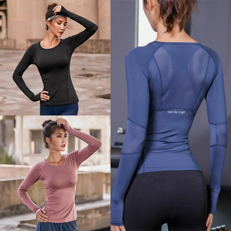 Women Full Sleeve Sport Shirt Quick Dry Fitness Clothing Gym Running Jogging Shirts Slim Activewear