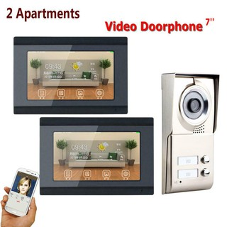 7inch Wifi 2 Apartments Video Intercom System IR Night Vision Doorbell 1000TVL