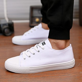 Age season tide shoes black white canvas han edition men casual low to help students with breathable sneakers