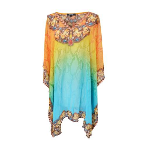 Peppermint Avenue Short Kaftan Orange/Multi with V-Neck (SK1604)