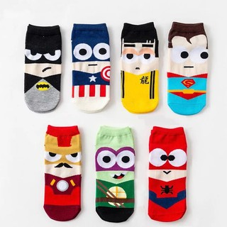 *🇲🇾 Msia Ready Stock* 1 pair of SUPERHERO socks Man Woman Unisex 36-44 socks Ankle Cotton Sports Cartoon Socks