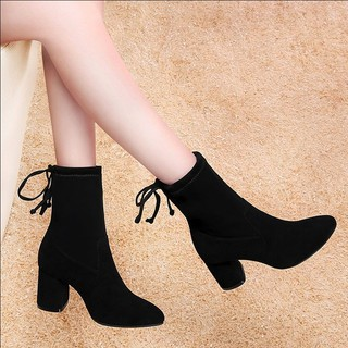 2019 new women high heels delivery mail plus velvet boots 2019 mid heel (2019