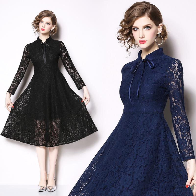 Early spring new fashion Celebrity Slim lace patchwork dress dress