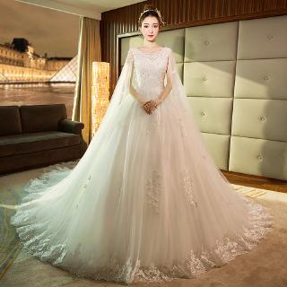 Wedding Clothes With Long Cap Lace Wedding clothes With Long Train Embroidery Princess Plus Szie Casual Dress