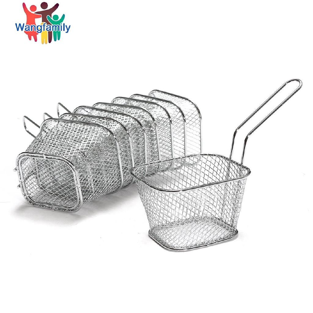 Mini Stainless Steel Mesh Fried Basket Strainer Serving  Chips Potato  Food Presentation Frying