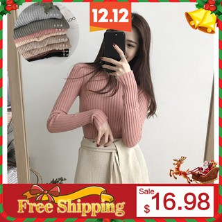 women clothing Long Sleeved Knitted tshirt Round Neck Tops High Elastic Sweater