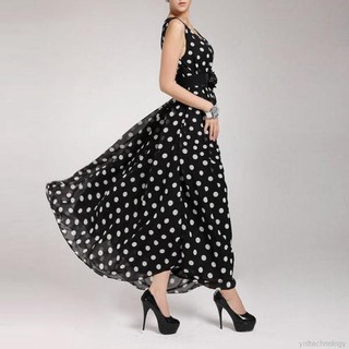 Summer Women's BOHO Chiffon Polka Dot Long Dress Maxi Party Cocktail Gown S-XXL