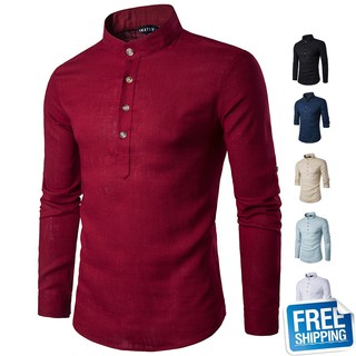 Casual Fashion Youth Men Shirt Solid Color Long-sleeved Stand Collar Linen Shirt