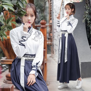 Original martial arts style Hanfu female modified autumn and winter Qi waist skirt costume Chinese s