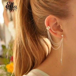 Ellastore 1pc lady Punk Rock Leaf Tassel Dangle Ear Cuff Wrap Earrings Ear Clip