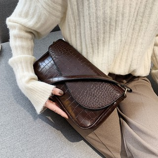 Fashion Vintage Crocodile pattern Women Fashion Baguette Quality PU French Shoulder Bag B615