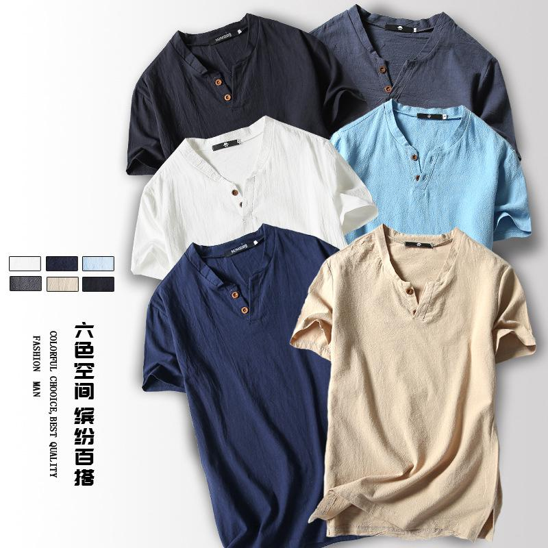 Men Chinese Style Cotton and Linen Loose Retro Short Sleeve T-shirt