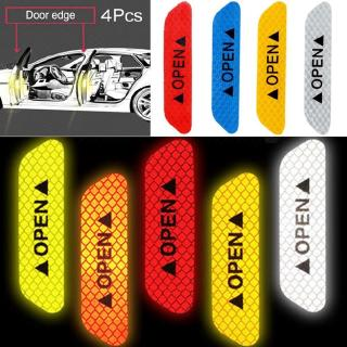 4Pcs Safety Reflective Tape Open Sign Warning Mark Car Door Stickers Universal Waterproof ( 5 Colors)