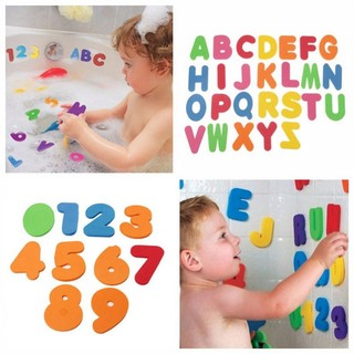 Children Educational Floating Baby Bath 36pcs Letters Figures stick on Bathroom
