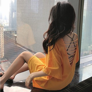 Loose Long Sleeves℡○In the summer of 2019 new sexy v-neck hollow-out backless T-shirt coat loose long short-sleeved