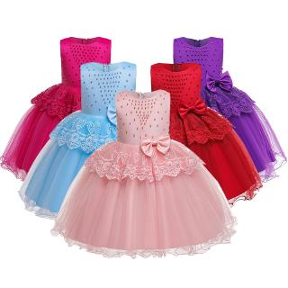 Christmas Performance Evening Party Elegant Dresses 2019 New Flower Girls Wedding Dress Baby Kids Bow Clothing