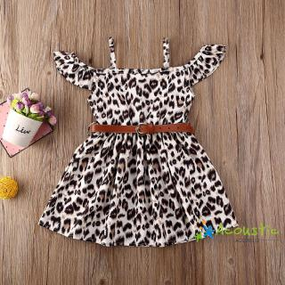 ღFashion Baby Girl Kids Leopard Print Ruffled Off Shoulder Party Dress Sundress With Belt