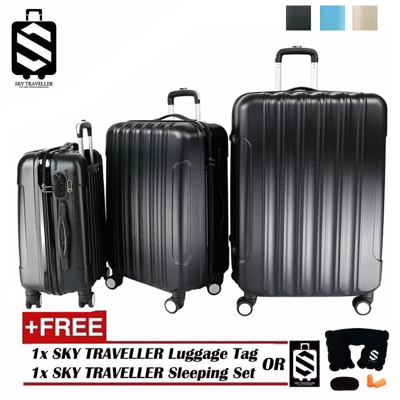 SKY TRAVELLER SKY284 Big Stripe 3-In-1 Ultralight Luggage Set