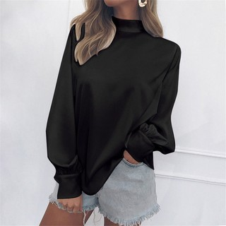 2020eBay Spring Fall Women's Amazon wish Burst Solid Color High Collar Lantern Sleeve Chiffon Shirt Top T-shirt