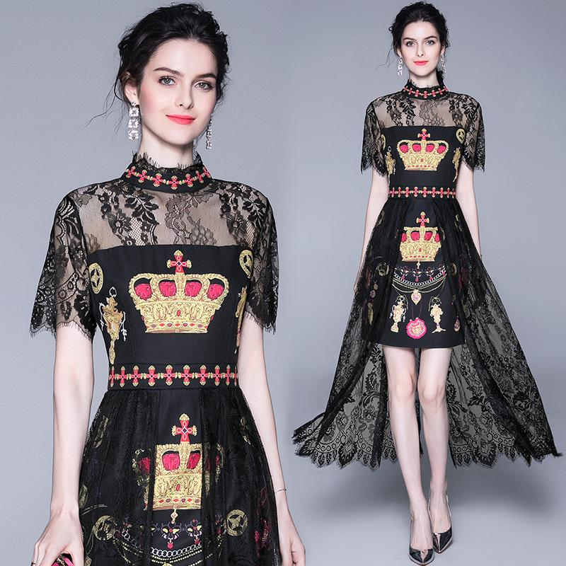 Free Shipping European station name Yuanyuan lace stitching dress printing temperament self-cultivation French skirt