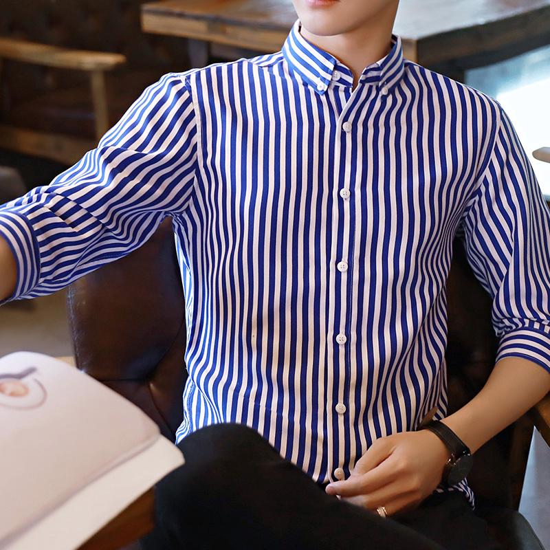 Spring And Summer Men's Short-Sleeved Shirt Business Casual Striped Korean